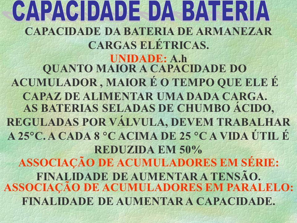 CAPACIDADE DA BATERIACAPACIDADE DA BATERIA DE ARMANEZAR CARGAS ELÉTRICAS. UNIDADE: A.h.