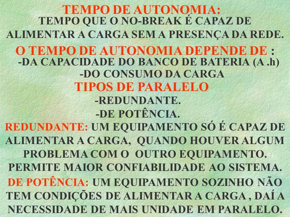 O TEMPO DE AUTONOMIA DEPENDE DE :