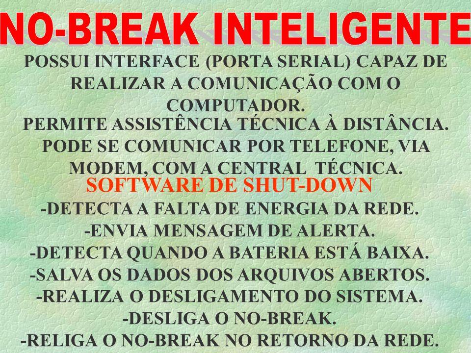 NO-BREAK INTELIGENTE POSSUI INTERFACE (PORTA SERIAL) CAPAZ DE REALIZAR A COMUNICAÇÃO COM O COMPUTADOR.