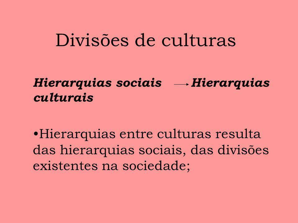 Divisões de culturas Hierarquias sociais Hierarquias culturais.
