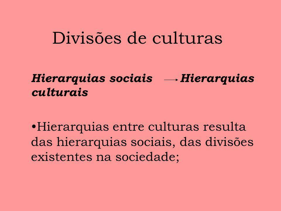 Divisões de culturasHierarquias sociais Hierarquias culturais.