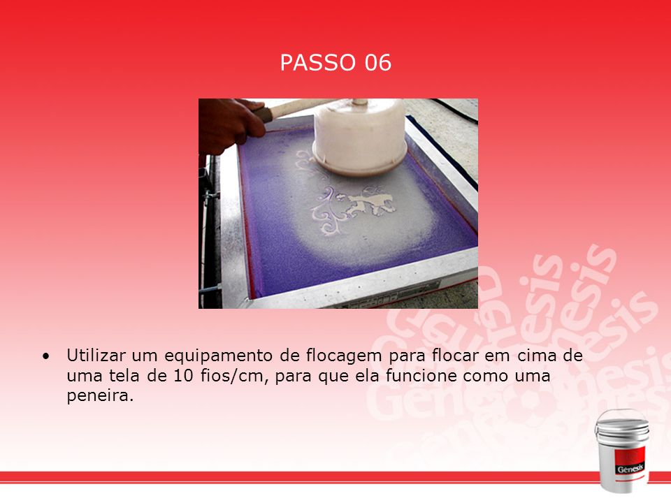PASSO 06 Utilizar um equipamento de flocagem para flocar em cima de uma tela de 10 fios/cm, para que ela funcione como uma peneira.