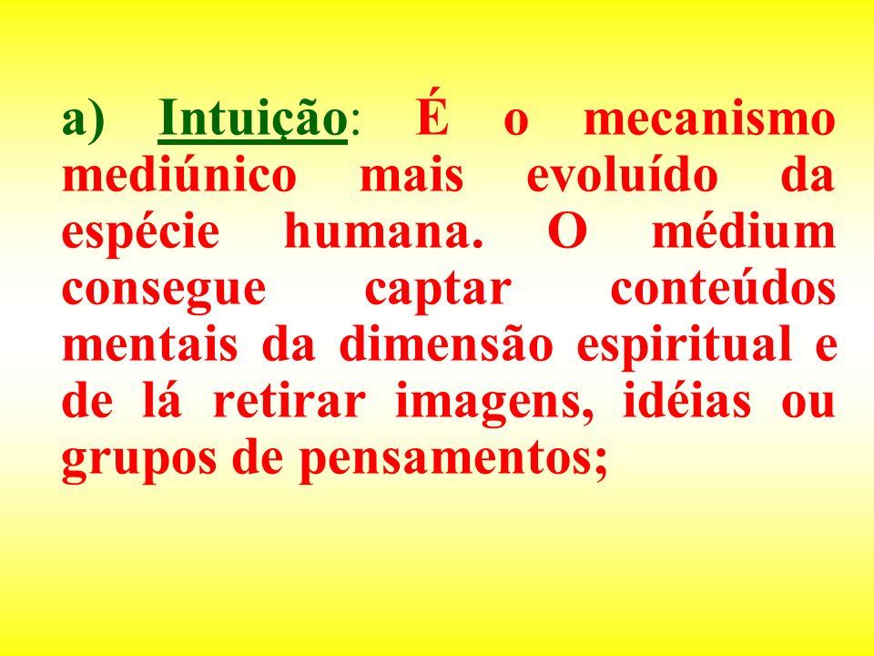 a) Intuição: É o mecanismo mediúnico mais evoluído da espécie humana