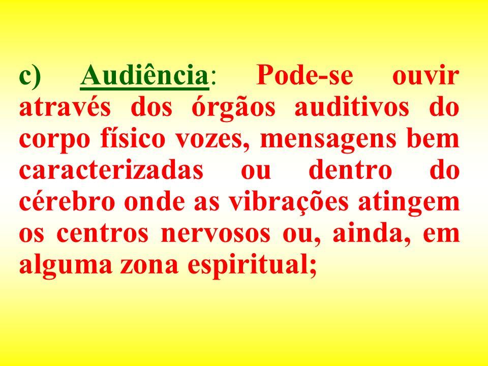 c) Audiência: Pode-se ouvir através dos órgãos auditivos do corpo físico vozes, mensagens bem caracterizadas ou dentro do cérebro onde as vibrações atingem os centros nervosos ou, ainda, em alguma zona espiritual;