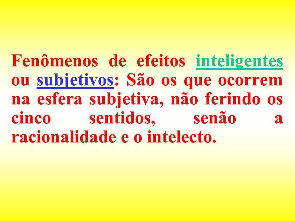 Fenômenos de efeitos inteligentes ou subjetivos: São os que ocorrem na esfera subjetiva, não ferindo os cinco sentidos, senão a racionalidade e o intelecto.