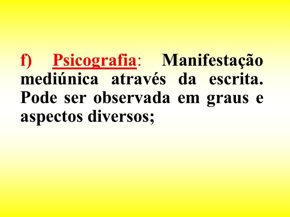 f) Psicografia: Manifestação mediúnica através da escrita