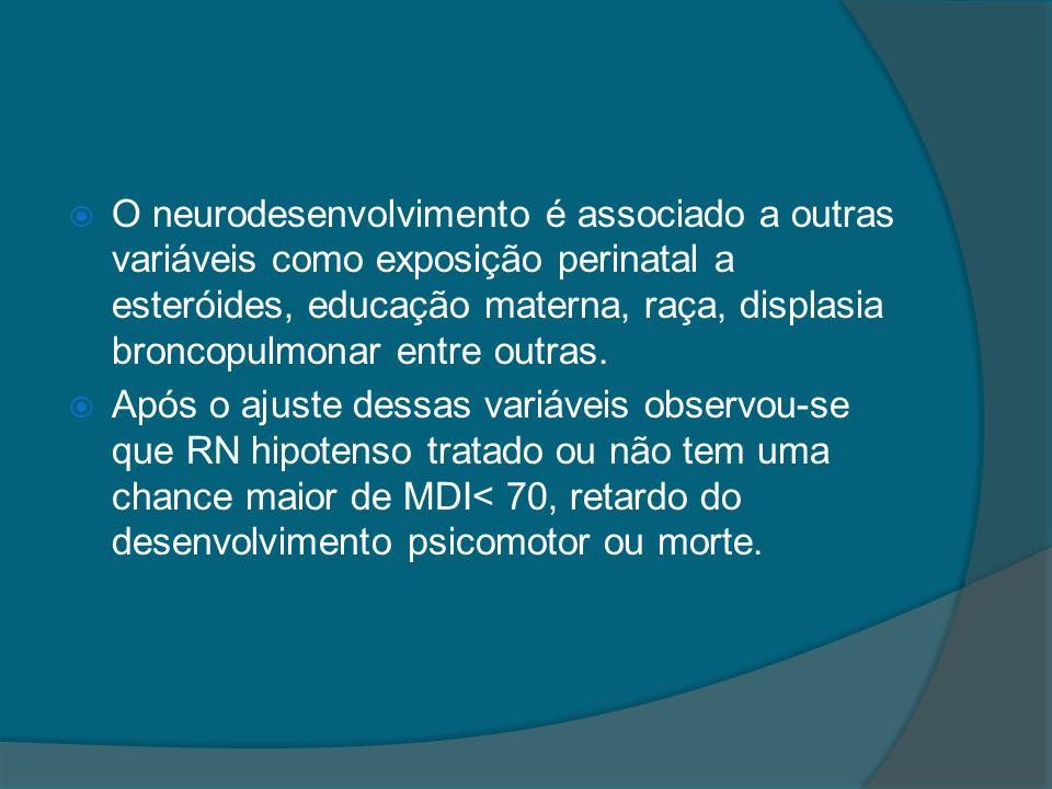 O neurodesenvolvimento é associado a outras variáveis como exposição perinatal a esteróides, educação materna, raça, displasia broncopulmonar entre outras.