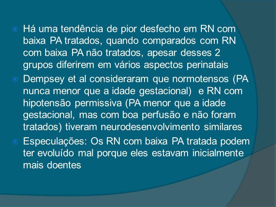 Há uma tendência de pior desfecho em RN com baixa PA tratados, quando comparados com RN com baixa PA não tratados, apesar desses 2 grupos diferirem em vários aspectos perinatais