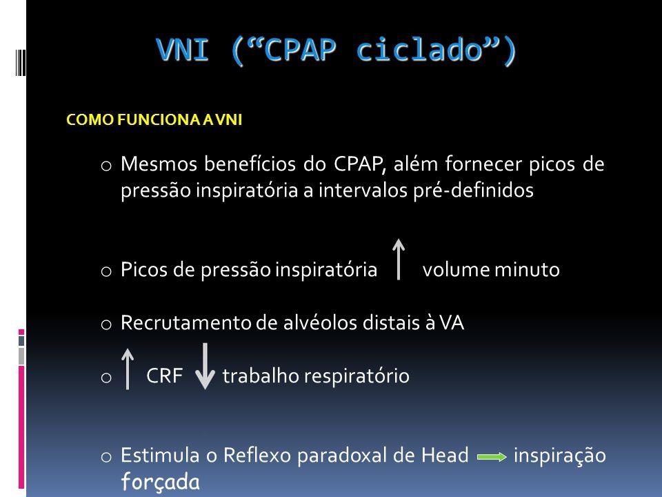 VNI ( CPAP ciclado ) COMO FUNCIONA A VNI. Mesmos benefícios do CPAP, além fornecer picos de pressão inspiratória a intervalos pré-definidos.