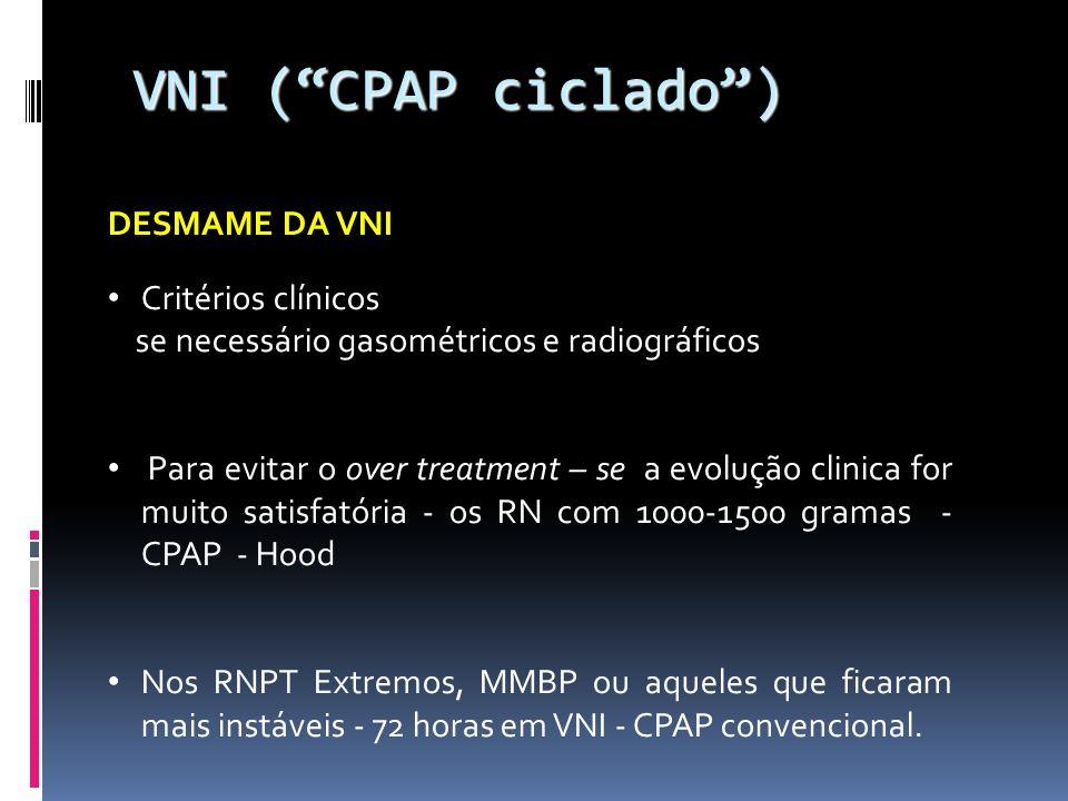 VNI ( CPAP ciclado ) DESMAME DA VNI Critérios clínicos