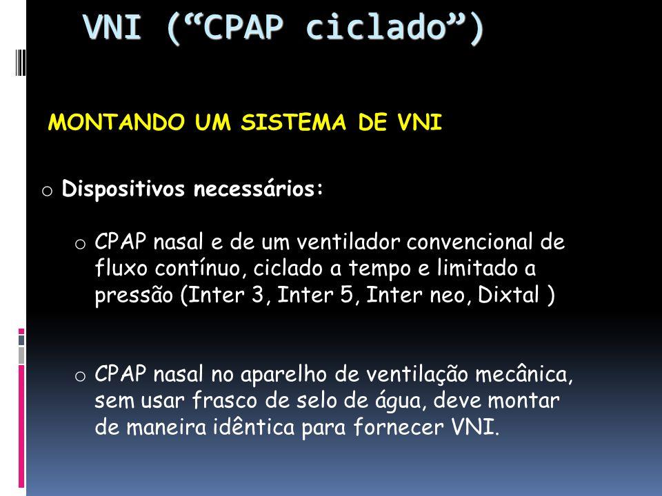VNI ( CPAP ciclado ) Dispositivos necessários:
