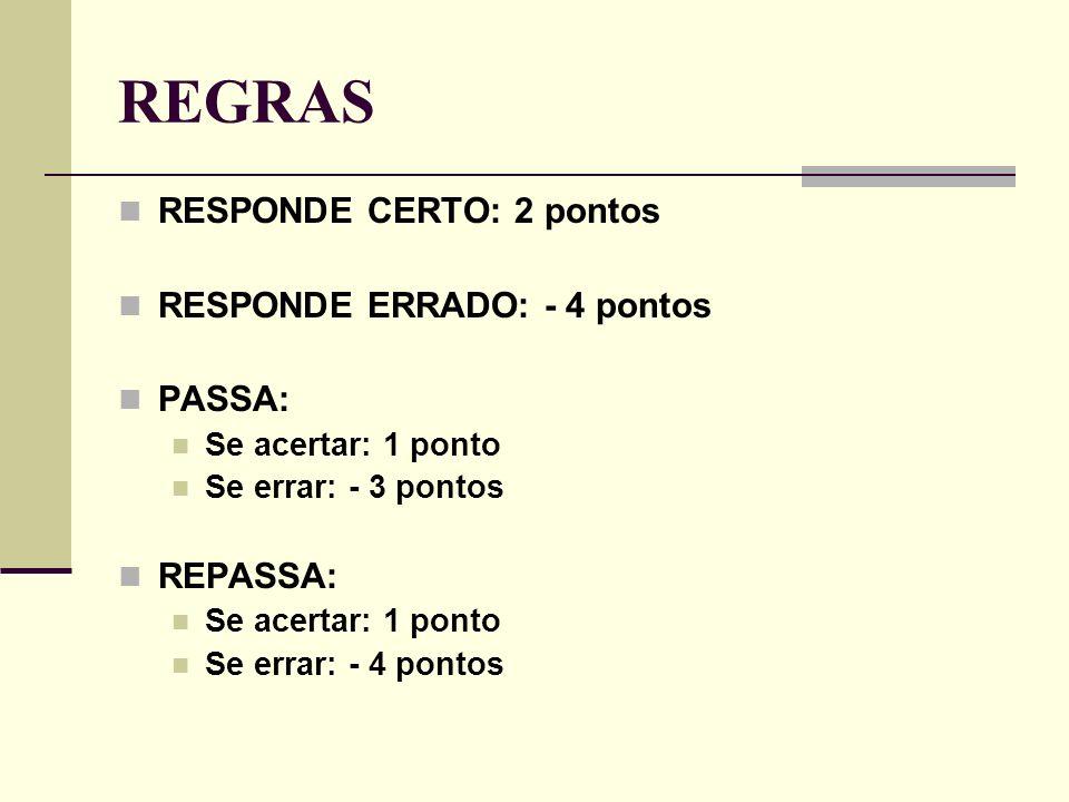 REGRAS RESPONDE CERTO: 2 pontos RESPONDE ERRADO: - 4 pontos PASSA: