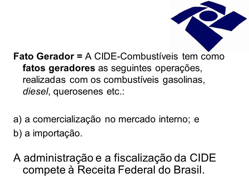 Fato Gerador = A CIDE-Combustíveis tem como fatos geradores as seguintes operações, realizadas com os combustíveis gasolinas, diesel, querosenes etc.: