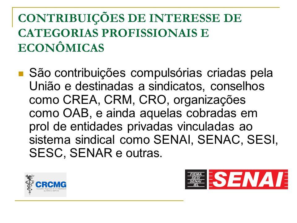 CONTRIBUIÇÕES DE INTERESSE DE CATEGORIAS PROFISSIONAIS E ECONÔMICAS
