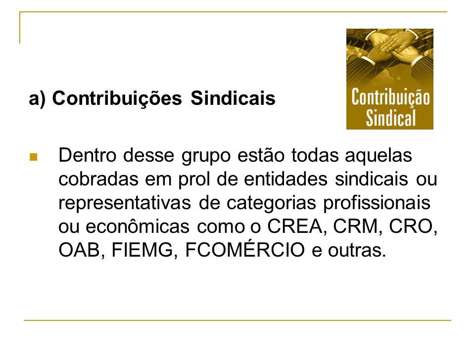 a) Contribuições Sindicais