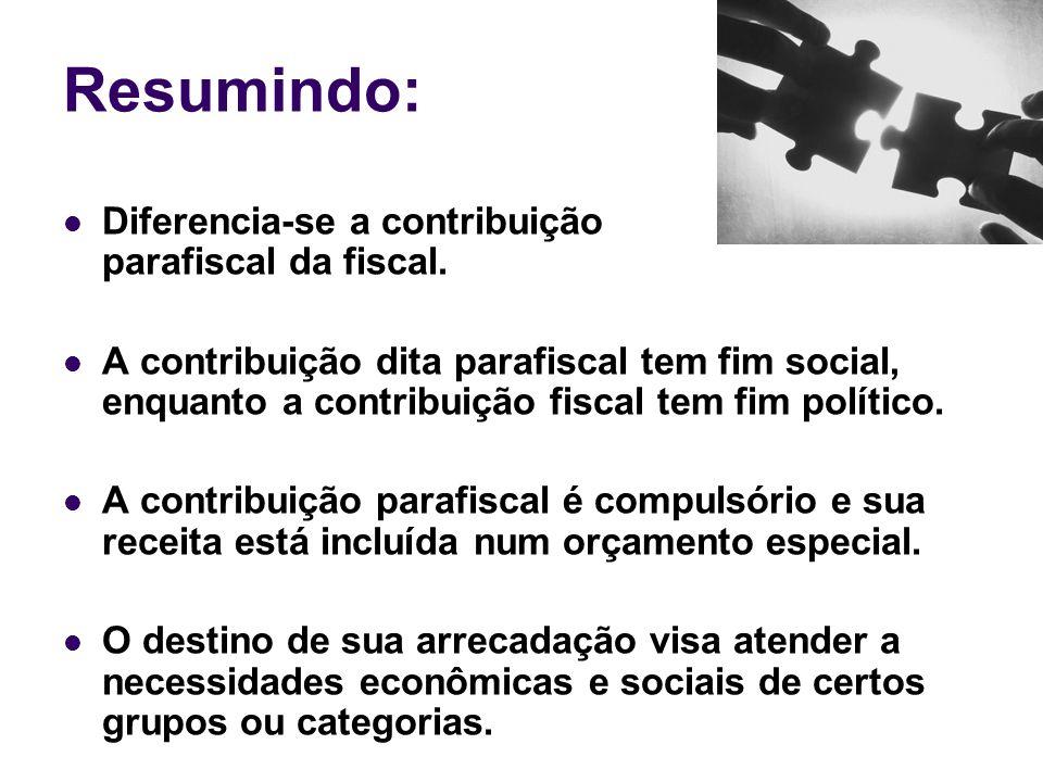 Resumindo: Diferencia-se a contribuição parafiscal da fiscal.