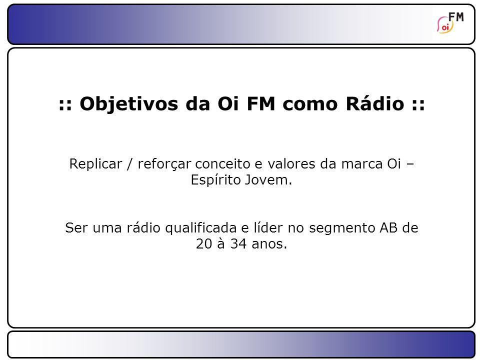 :: Objetivos da Oi FM como Rádio ::