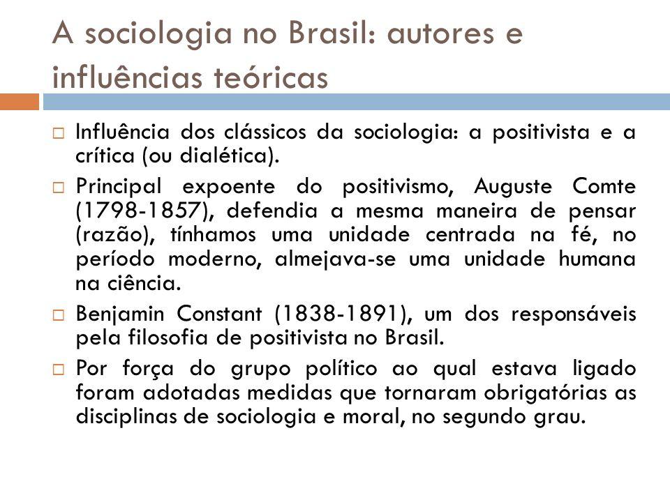 A sociologia no Brasil: autores e influências teóricas