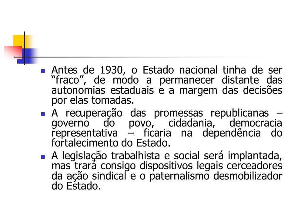 Antes de 1930, o Estado nacional tinha de ser fraco , de modo a permanecer distante das autonomias estaduais e a margem das decisões por elas tomadas.