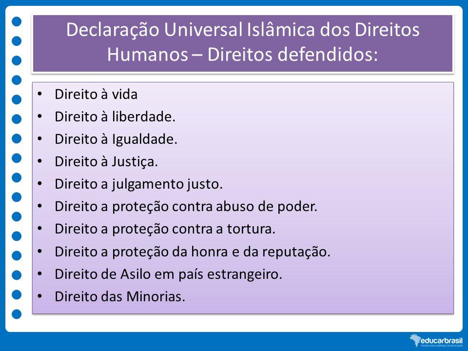 Declaração Universal Islâmica dos Direitos Humanos – Direitos defendidos: