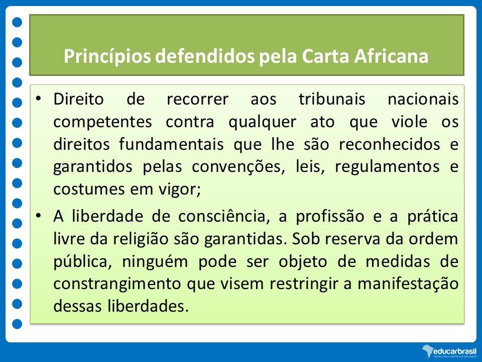 Princípios defendidos pela Carta Africana