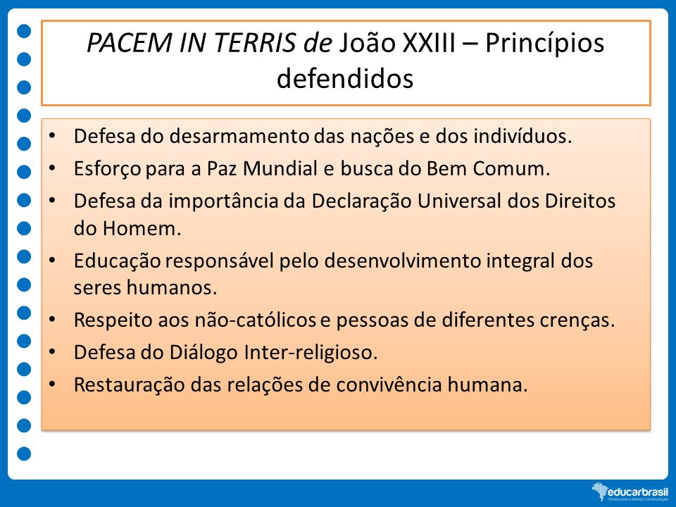 PACEM IN TERRIS de João XXIII – Princípios defendidos