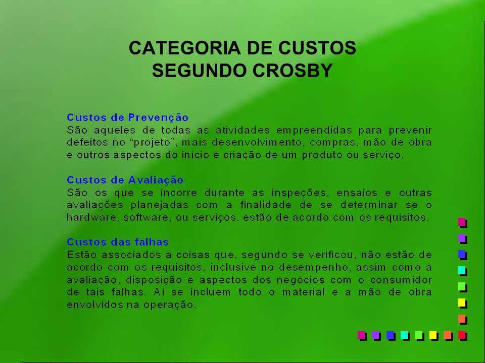 CATEGORIA DE CUSTOS SEGUNDO CROSBY
