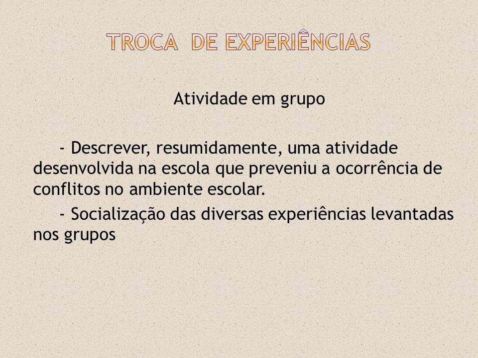Troca DE Experiências Atividade em grupo