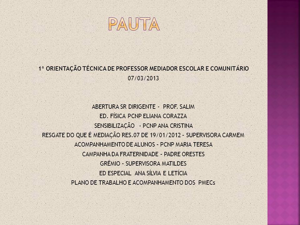 pauta 1ª ORIENTAÇÃO TÉCNICA DE PROFESSOR MEDIADOR ESCOLAR E COMUNITÁRIO. 07/03/2013. ABERTURA SR DIRIGENTE - PROF. SALIM.