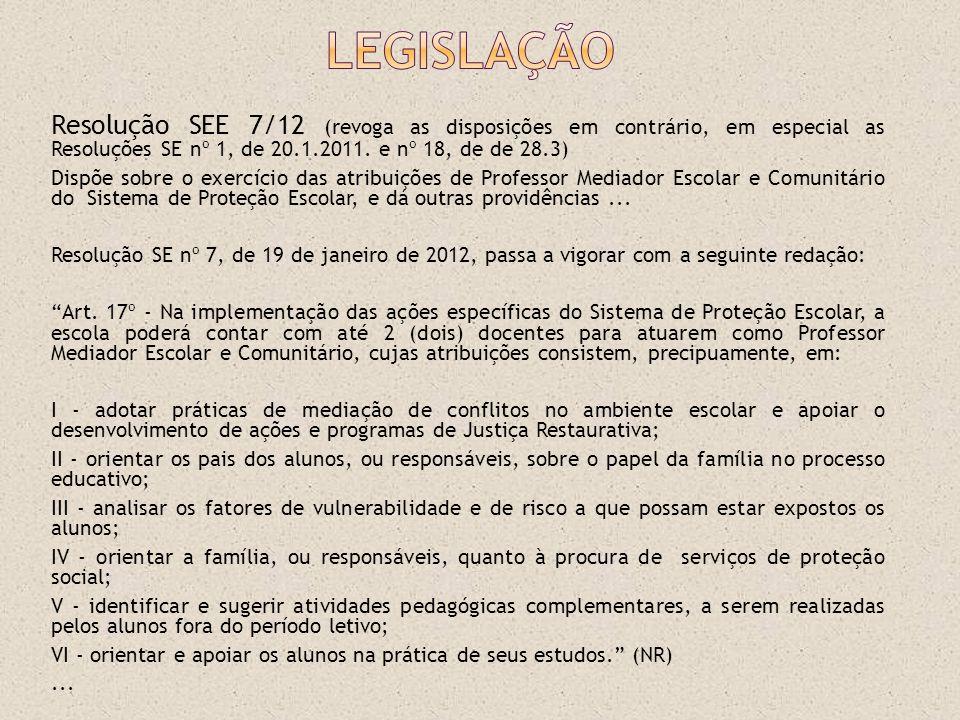 Legislação Resolução SEE 7/12 (revoga as disposições em contrário, em especial as Resoluções SE nº 1, de 20.1.2011. e nº 18, de de 28.3)