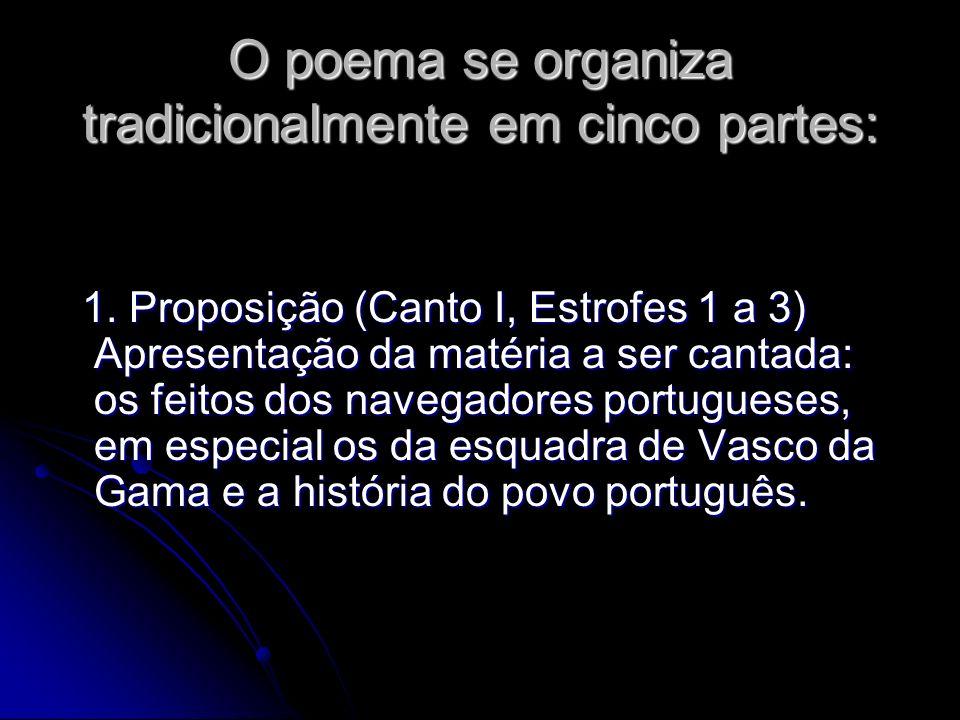 O poema se organiza tradicionalmente em cinco partes: