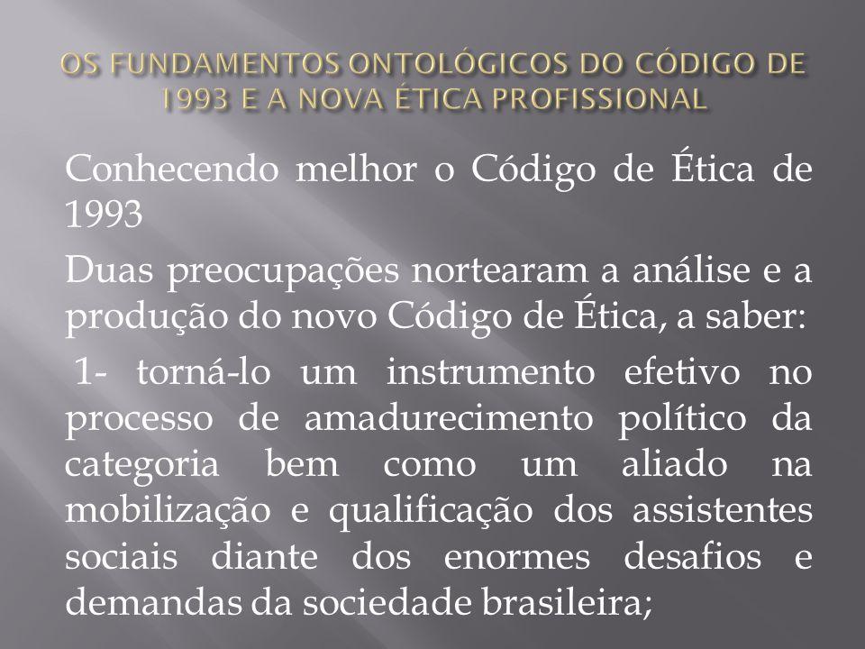 Conhecendo melhor o Código de Ética de 1993