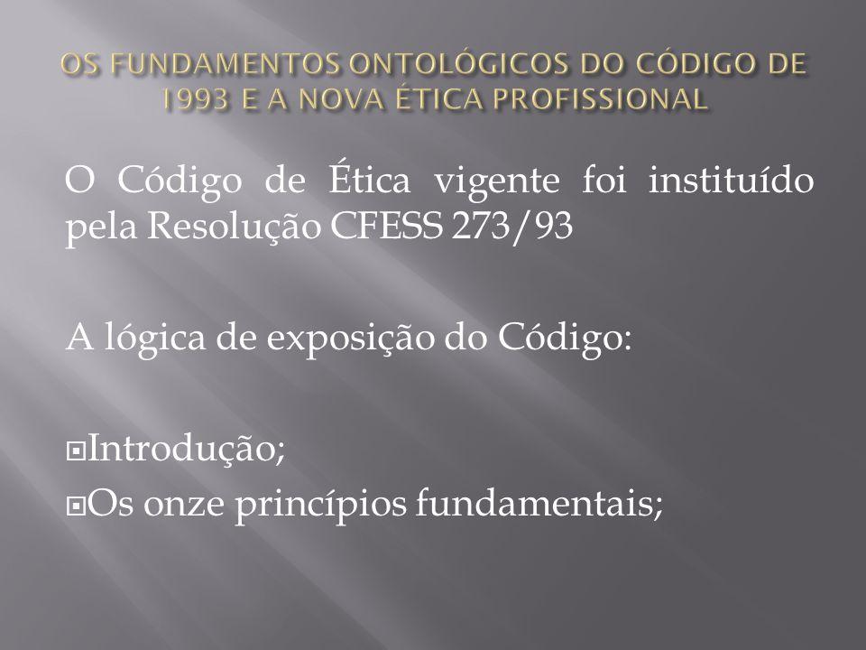 O Código de Ética vigente foi instituído pela Resolução CFESS 273/93
