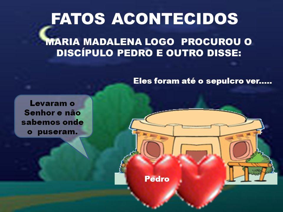 FATOS ACONTECIDOS MARIA MADALENA LOGO PROCUROU O DISCÍPULO PEDRO E OUTRO DISSE: Eles foram até o sepulcro ver.....