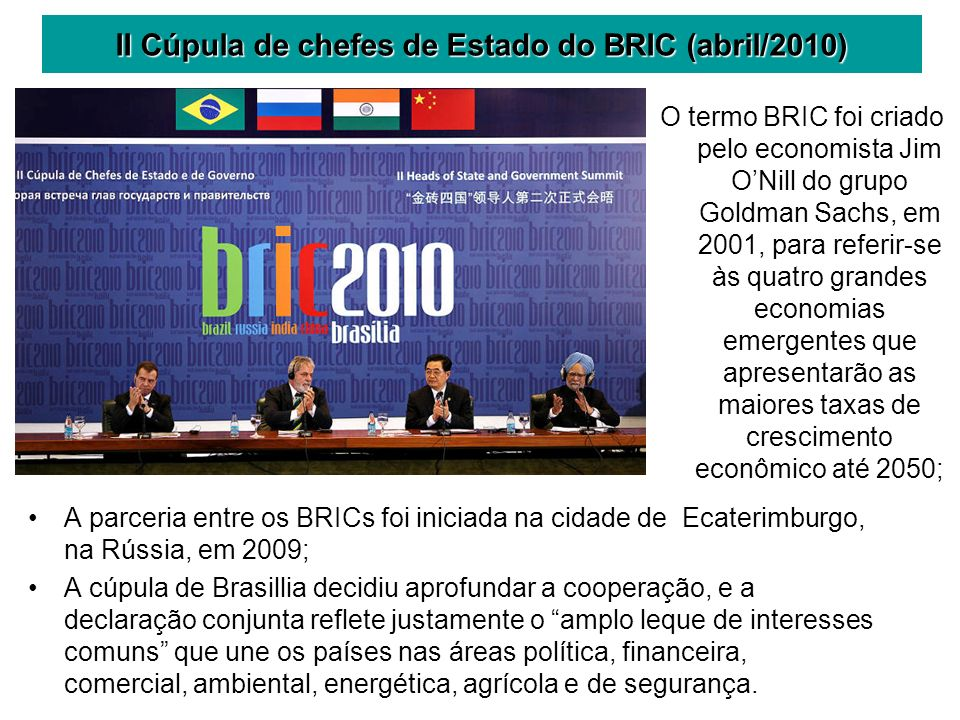 II Cúpula de chefes de Estado do BRIC (abril/2010)