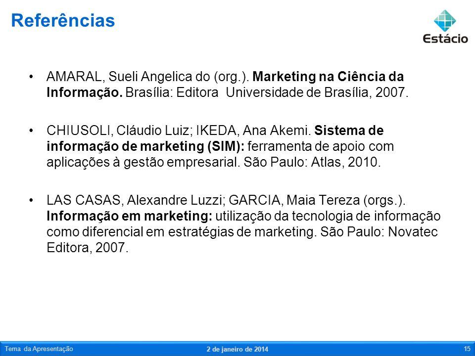 Referências AMARAL, Sueli Angelica do (org.). Marketing na Ciência da Informação. Brasília: Editora Universidade de Brasília, 2007.
