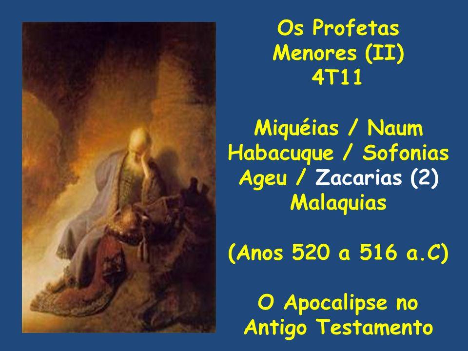 Os Profetas Menores (II) 4T11 Miquéias / Naum Habacuque / Sofonias Ageu / Zacarias (2) Malaquias (Anos 520 a 516 a.C) O Apocalipse no Antigo Testamento