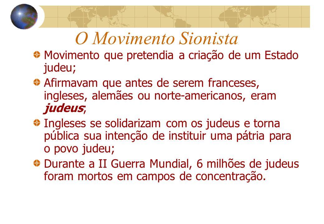 O Movimento Sionista Movimento que pretendia a criação de um Estado judeu;