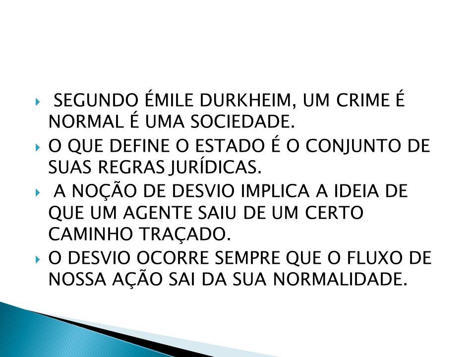 SEGUNDO ÉMILE DURKHEIM, UM CRIME É NORMAL É UMA SOCIEDADE.