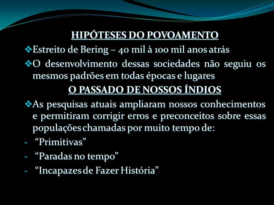 HIPÓTESES DO POVOAMENTO O PASSADO DE NOSSOS ÍNDIOS