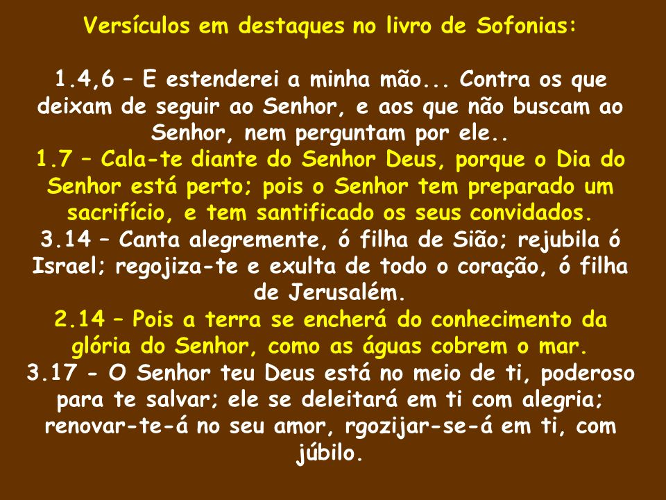 Versículos em destaques no livro de Sofonias: