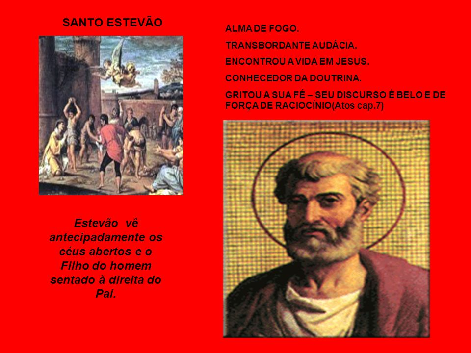 SANTO ESTEVÃOALMA DE FOGO. TRANSBORDANTE AUDÁCIA. ENCONTROU A VIDA EM JESUS. CONHECEDOR DA DOUTRINA.