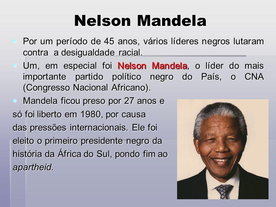 Nelson MandelaPor um período de 45 anos, vários líderes negros lutaram contra a desigualdade racial.