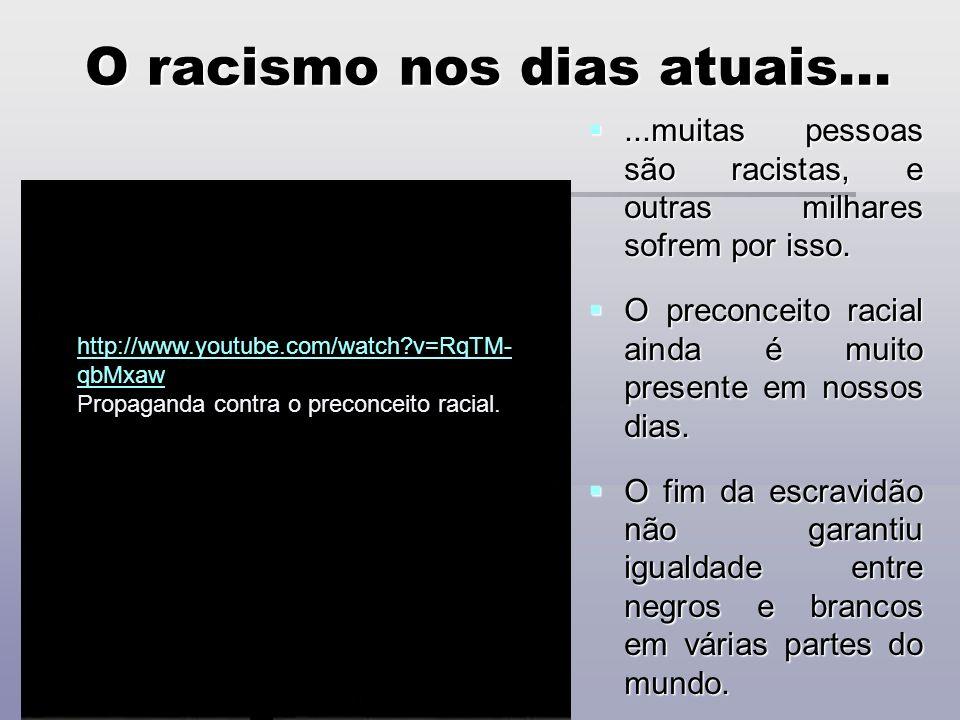 O racismo nos dias atuais...