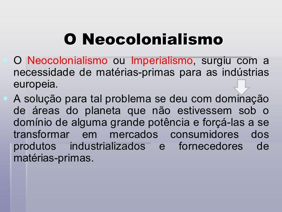 O Neocolonialismo ou Imperialismo, surgiu com a necessidade de matérias-primas para as indústrias europeia.