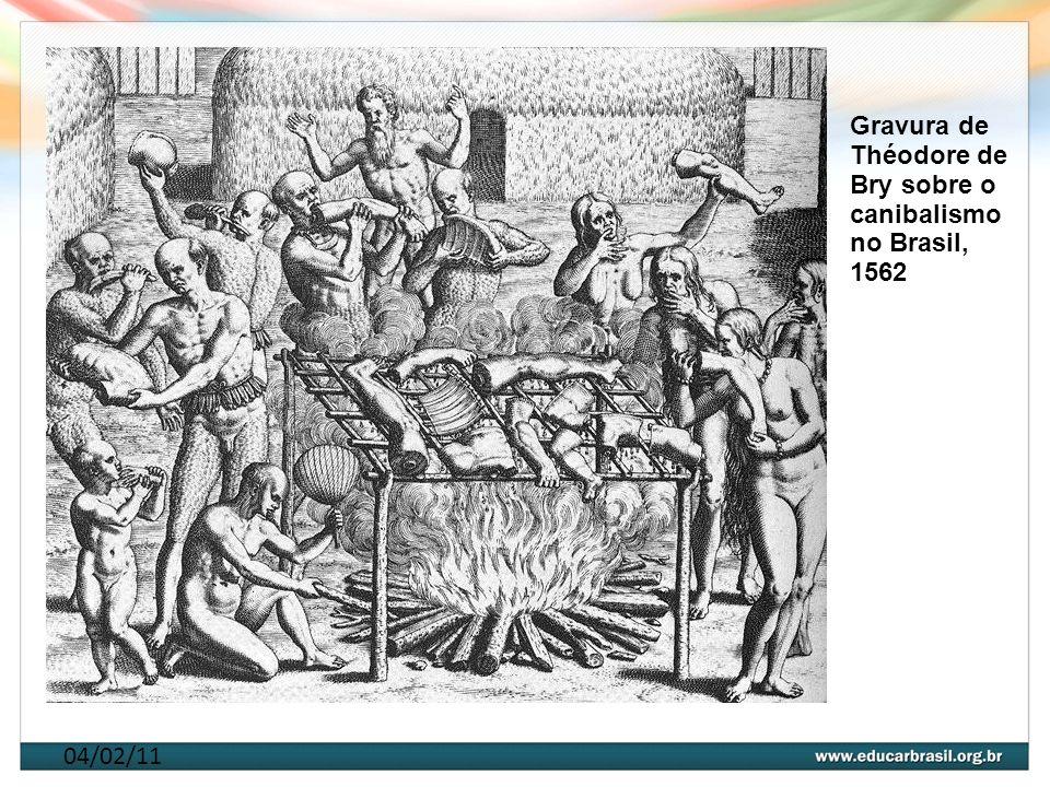 Gravura de Théodore de Bry sobre o canibalismo no Brasil, 1562