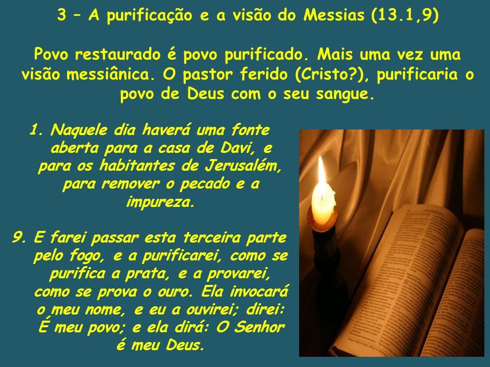 3 – A purificação e a visão do Messias (13.1,9)
