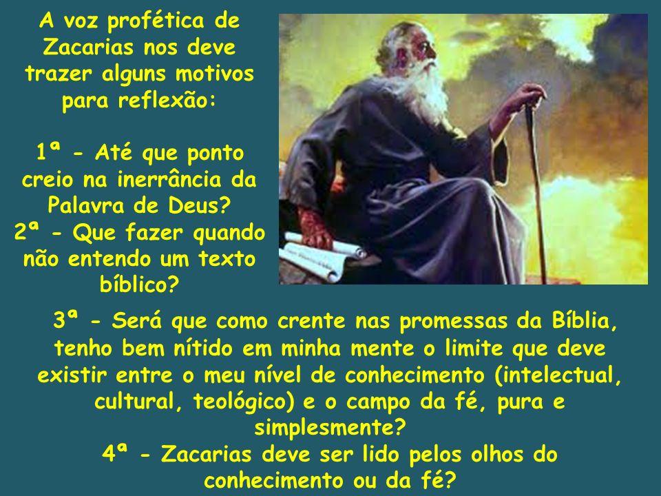 A voz profética de Zacarias nos deve trazer alguns motivos para reflexão: