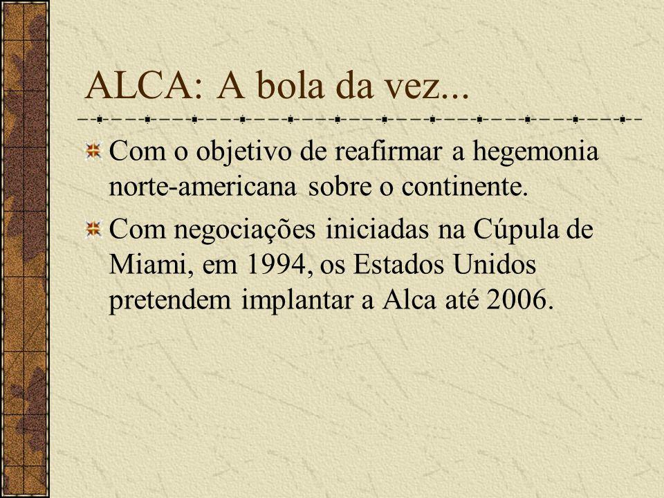 ALCA: A bola da vez... Com o objetivo de reafirmar a hegemonia norte-americana sobre o continente.