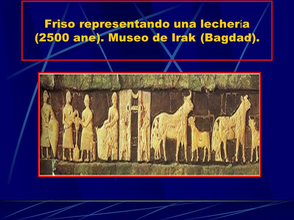 Friso representando una lechería (2500 ane). Museo de Irak (Bagdad).